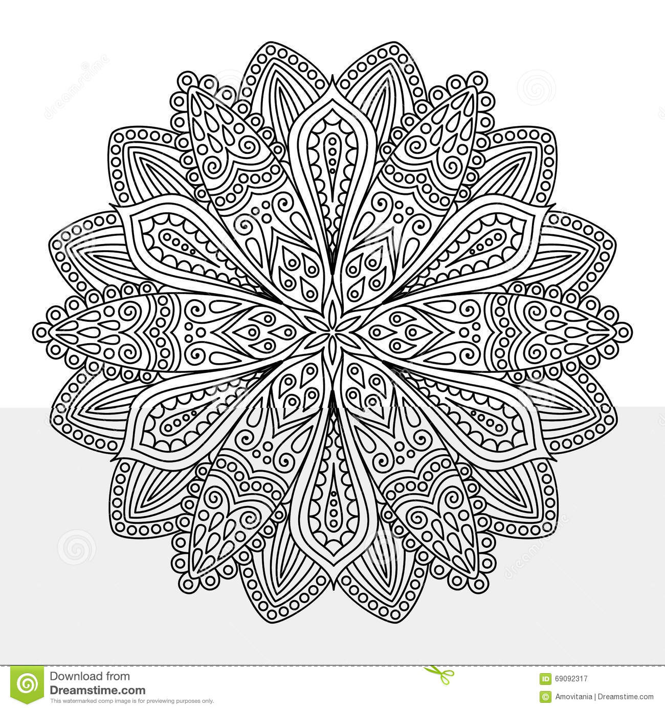 Intricate Flower Coloring Page Stock Vector