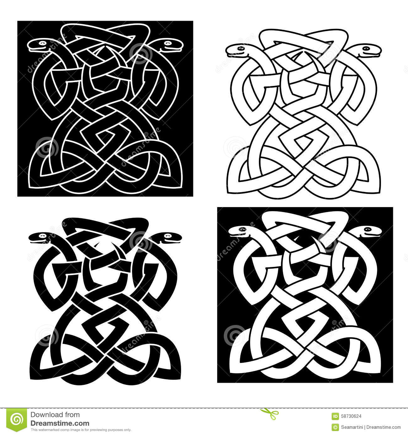 intricate intertwined snakes emblem stock vector. Black Bedroom Furniture Sets. Home Design Ideas