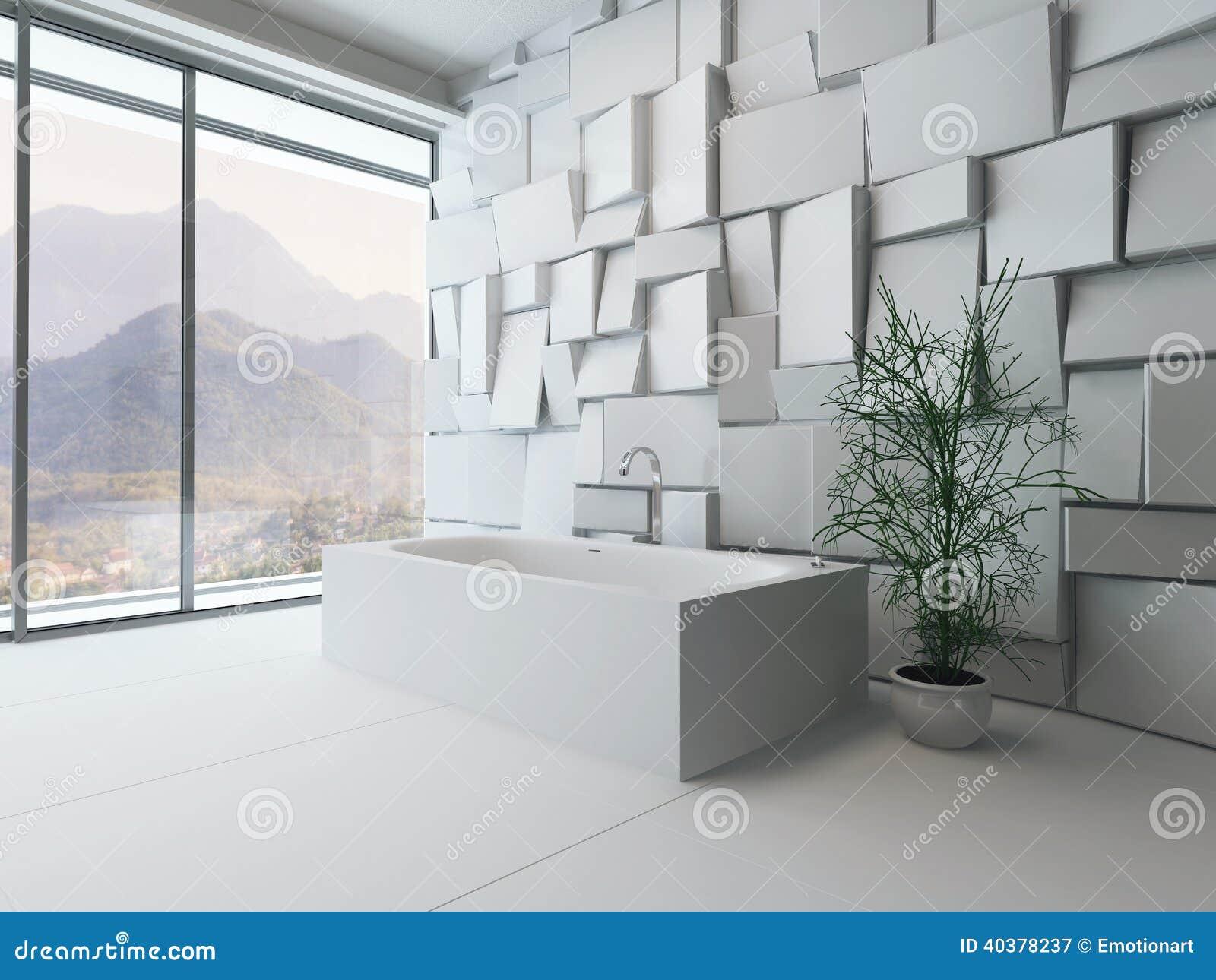 Intérieur abstrait moderne de salle de bains avec la baignoire ...