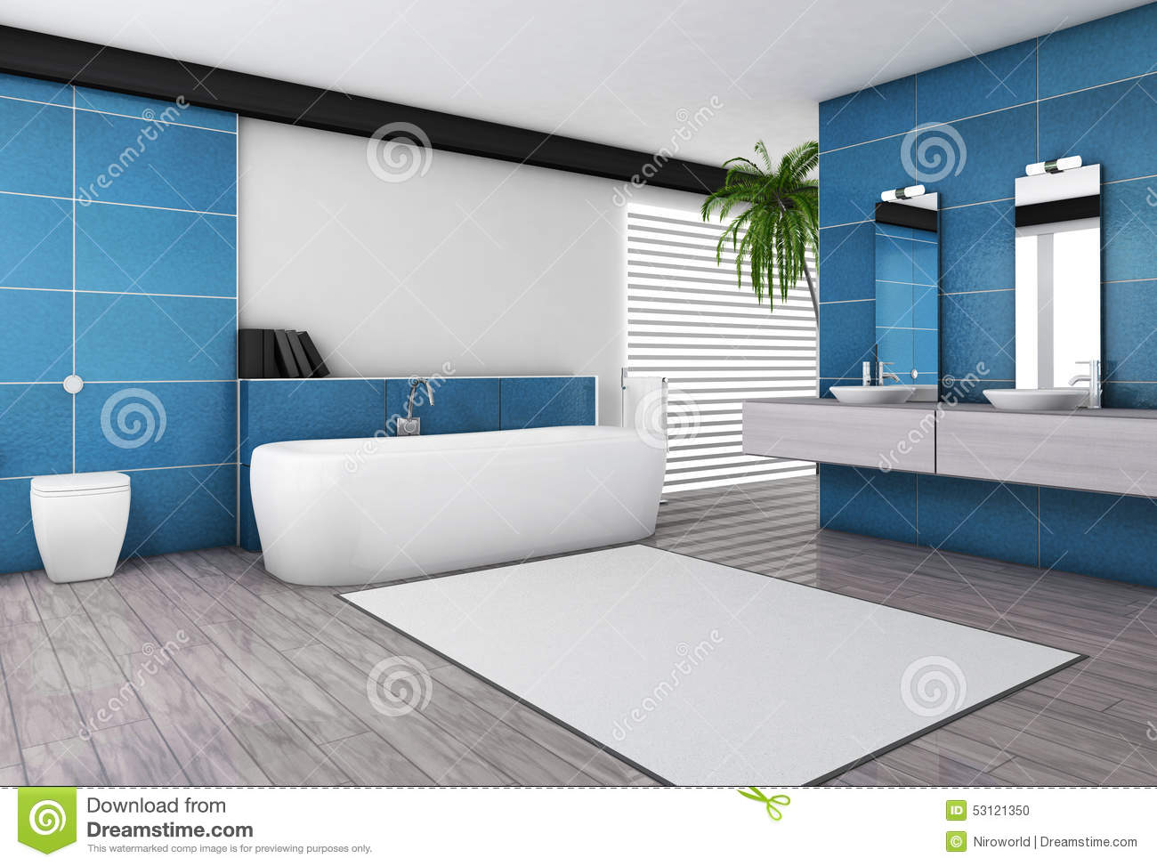 int rieur bleu vert de salle de bains moderne illustration stock image 53121350. Black Bedroom Furniture Sets. Home Design Ideas