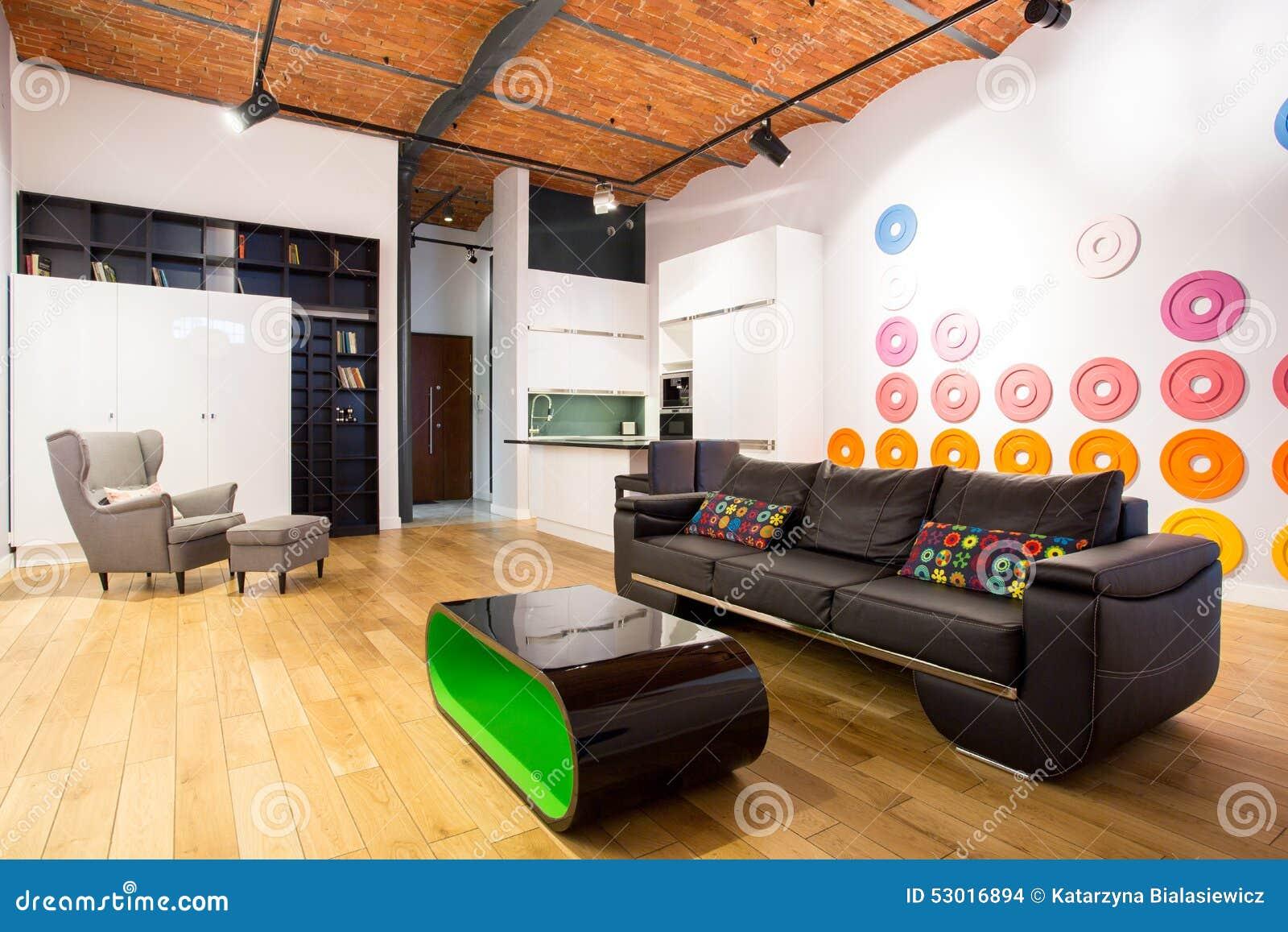 Int rieur con u avec les meubles contemporains photo stock for Ameublement interieur