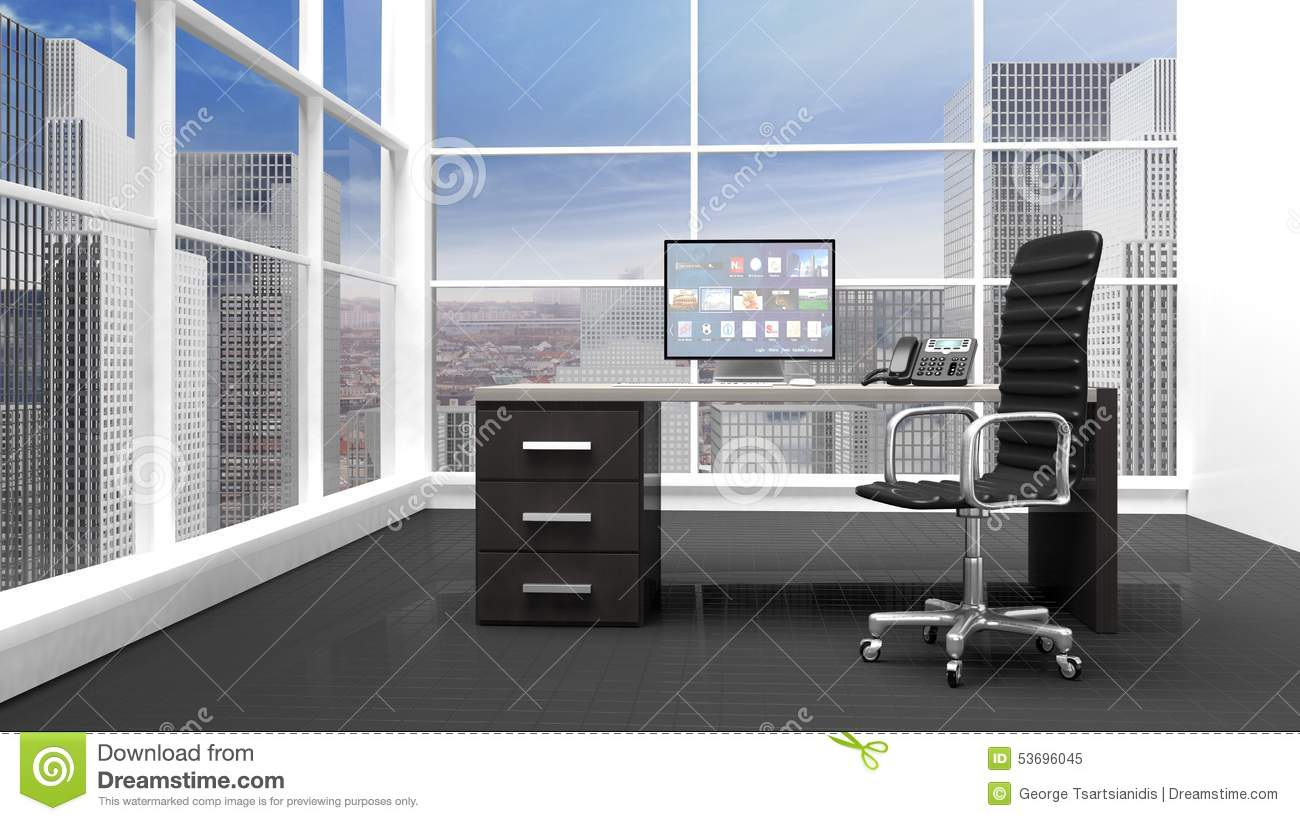 int rieur d 39 un bureau moderne illustration stock image 53696045. Black Bedroom Furniture Sets. Home Design Ideas