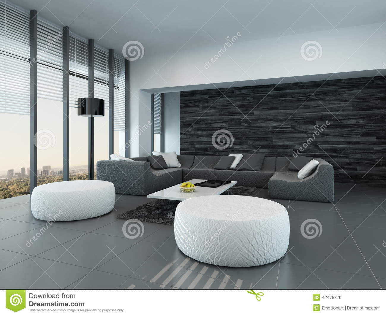 Int rieur d 39 un salon gris et blanc moderne illustration stock image 42475370 - Salon moderne blanc ...