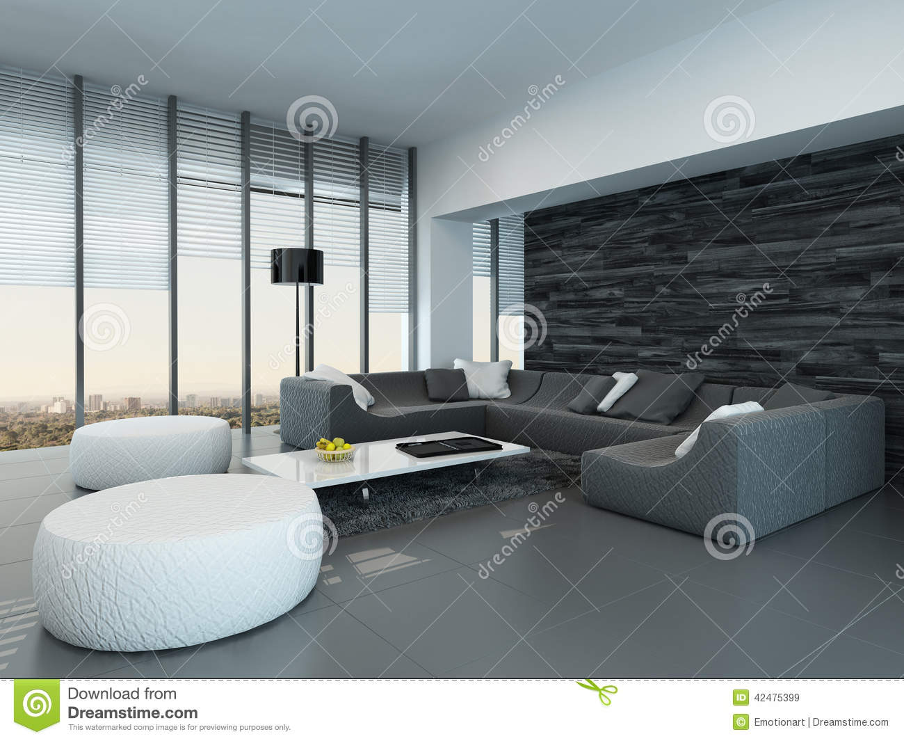 int rieur d 39 un salon gris et blanc moderne illustration stock image 42475399. Black Bedroom Furniture Sets. Home Design Ideas