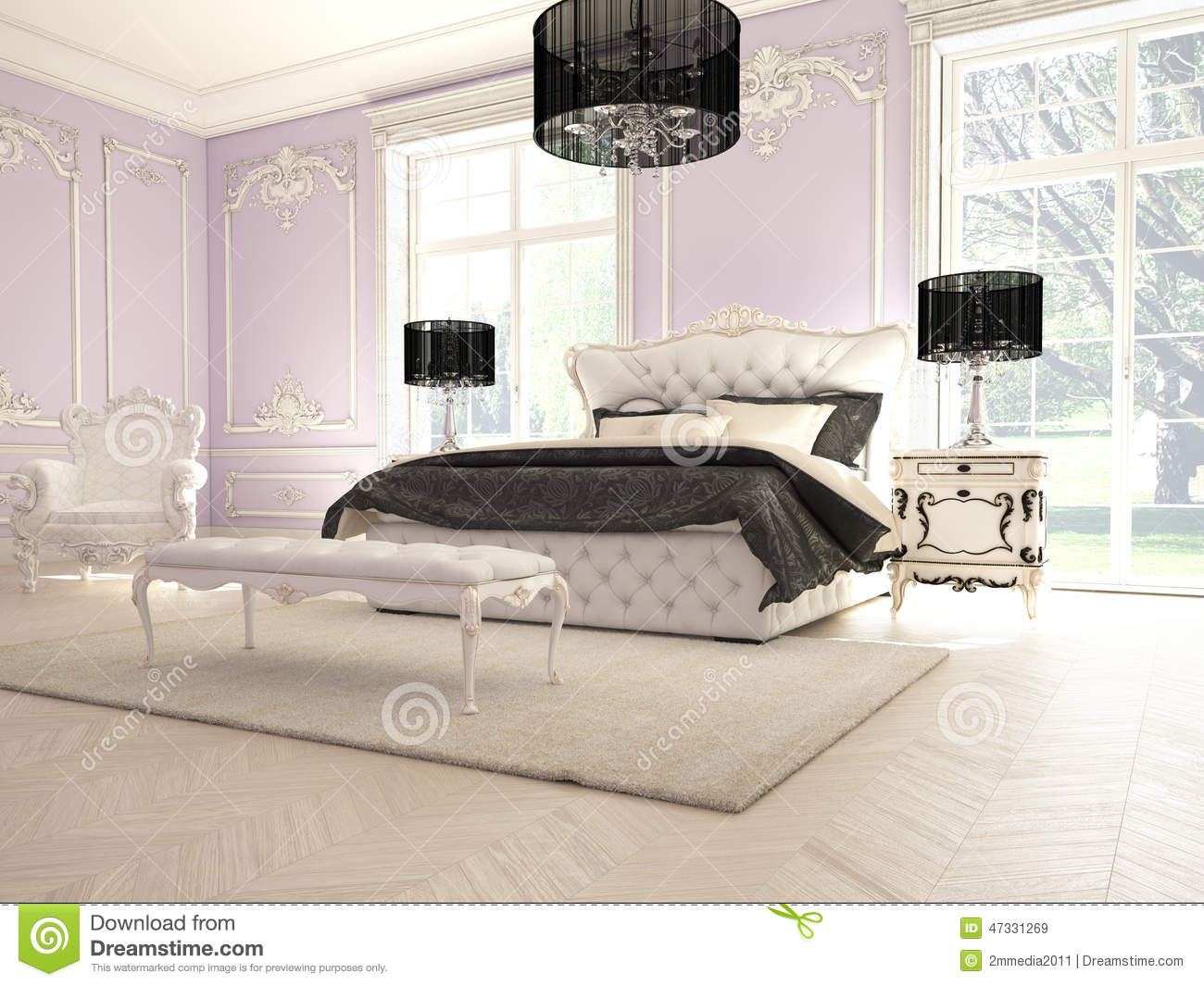 int rieur d 39 une chambre coucher classique de style dans le luxe photo stock image 47331269. Black Bedroom Furniture Sets. Home Design Ideas