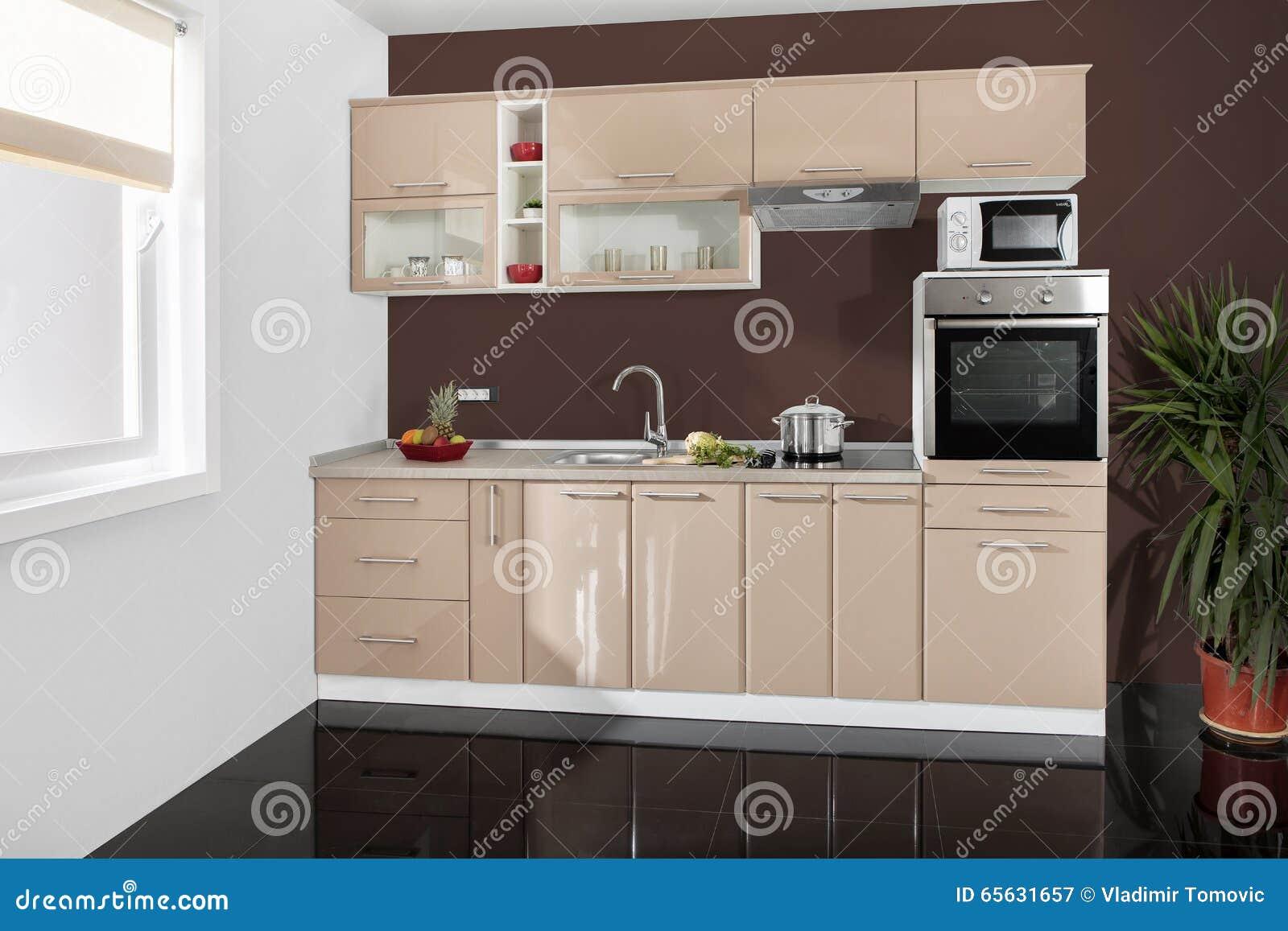 intrieur d une cuisine moderne meubles en bois simple et propre - Meubles Modernes Bois
