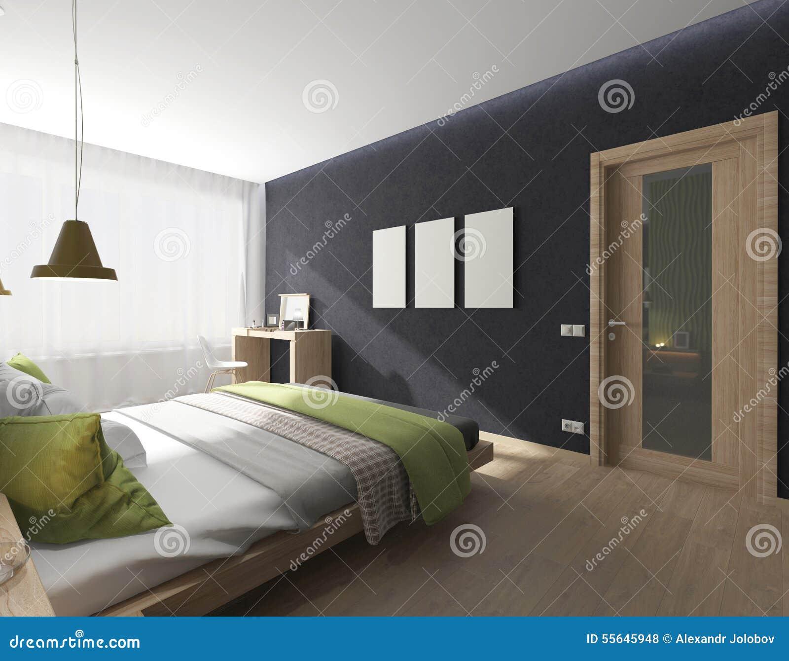 Int rieur de chambre coucher avec la couverture verte for Interieur chambre a coucher