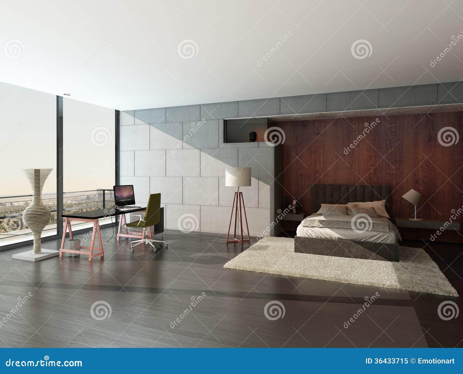 Intérieur moderne de chambre à coucher avec le mur en pierre ...