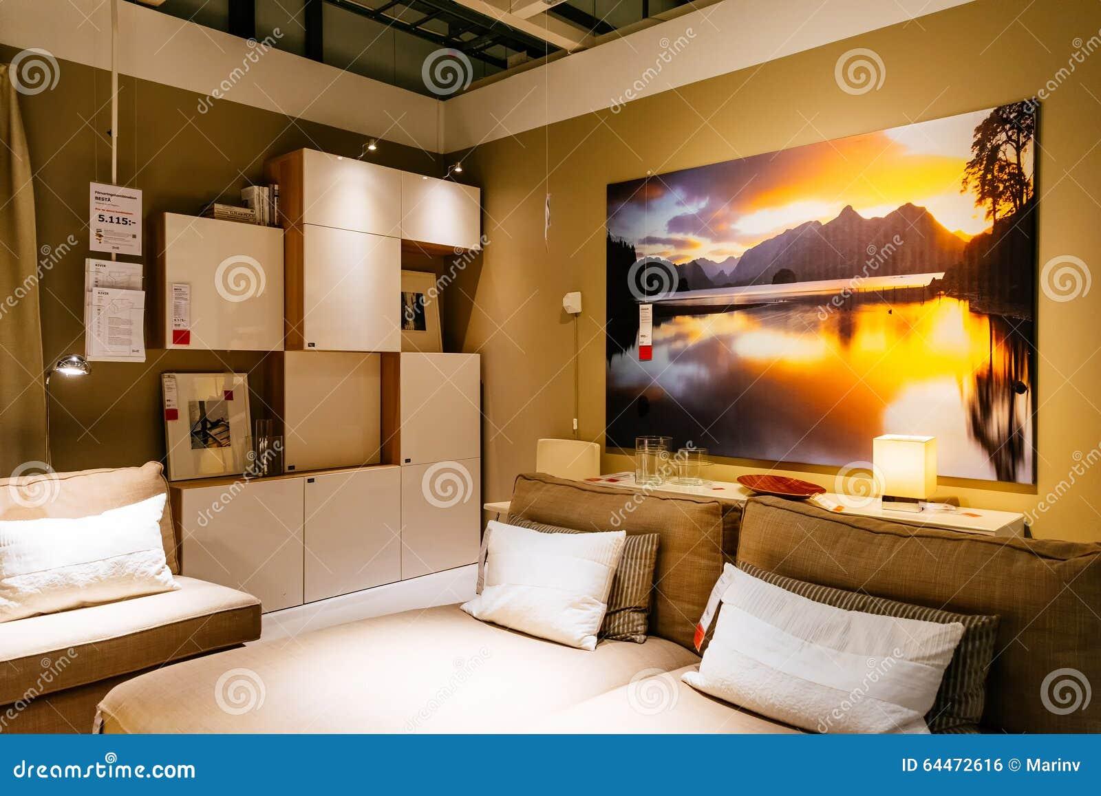 int rieur de grand magasin d 39 ikea avec un large ventail de produits malm su de photo. Black Bedroom Furniture Sets. Home Design Ideas