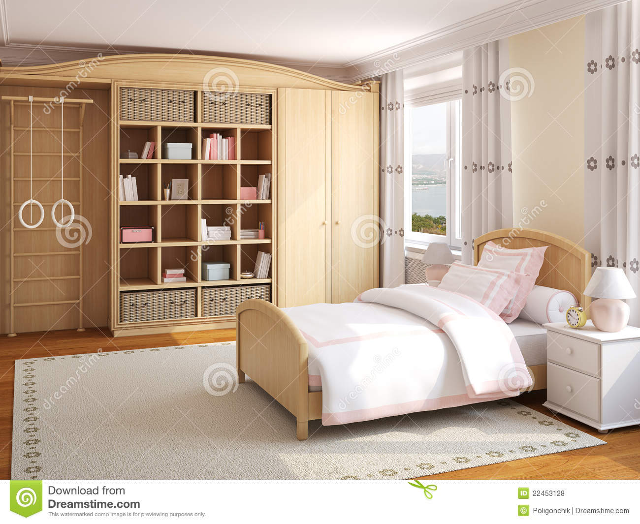 int rieur de la chambre coucher de la fille photos libres de droits image 22453128. Black Bedroom Furniture Sets. Home Design Ideas