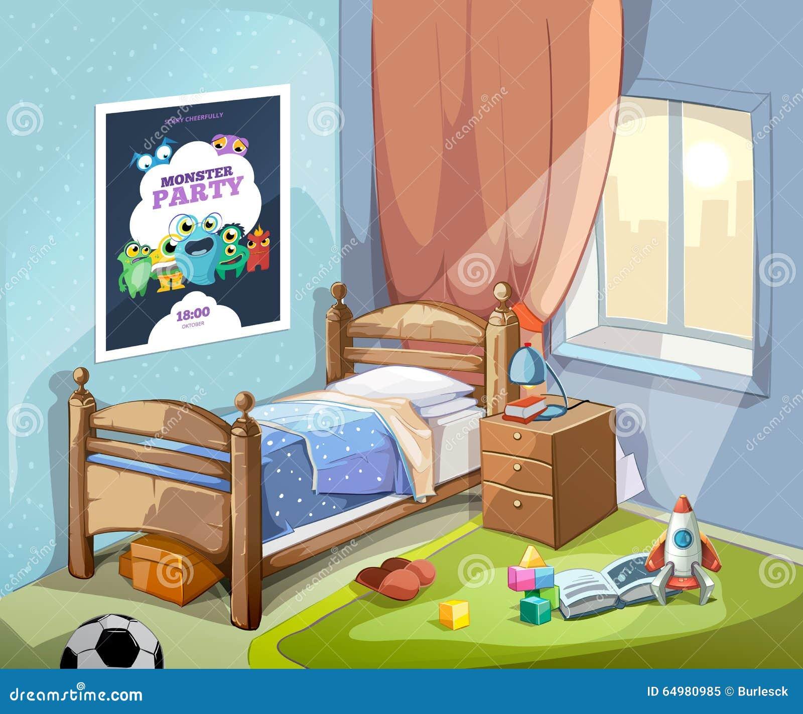 int rieur de la chambre coucher des enfants dans le style de bande dessin e illustration de. Black Bedroom Furniture Sets. Home Design Ideas