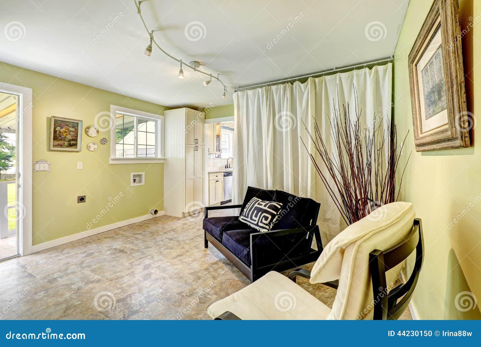 Salon noir avec rideau - Rideaux maison de campagne ...