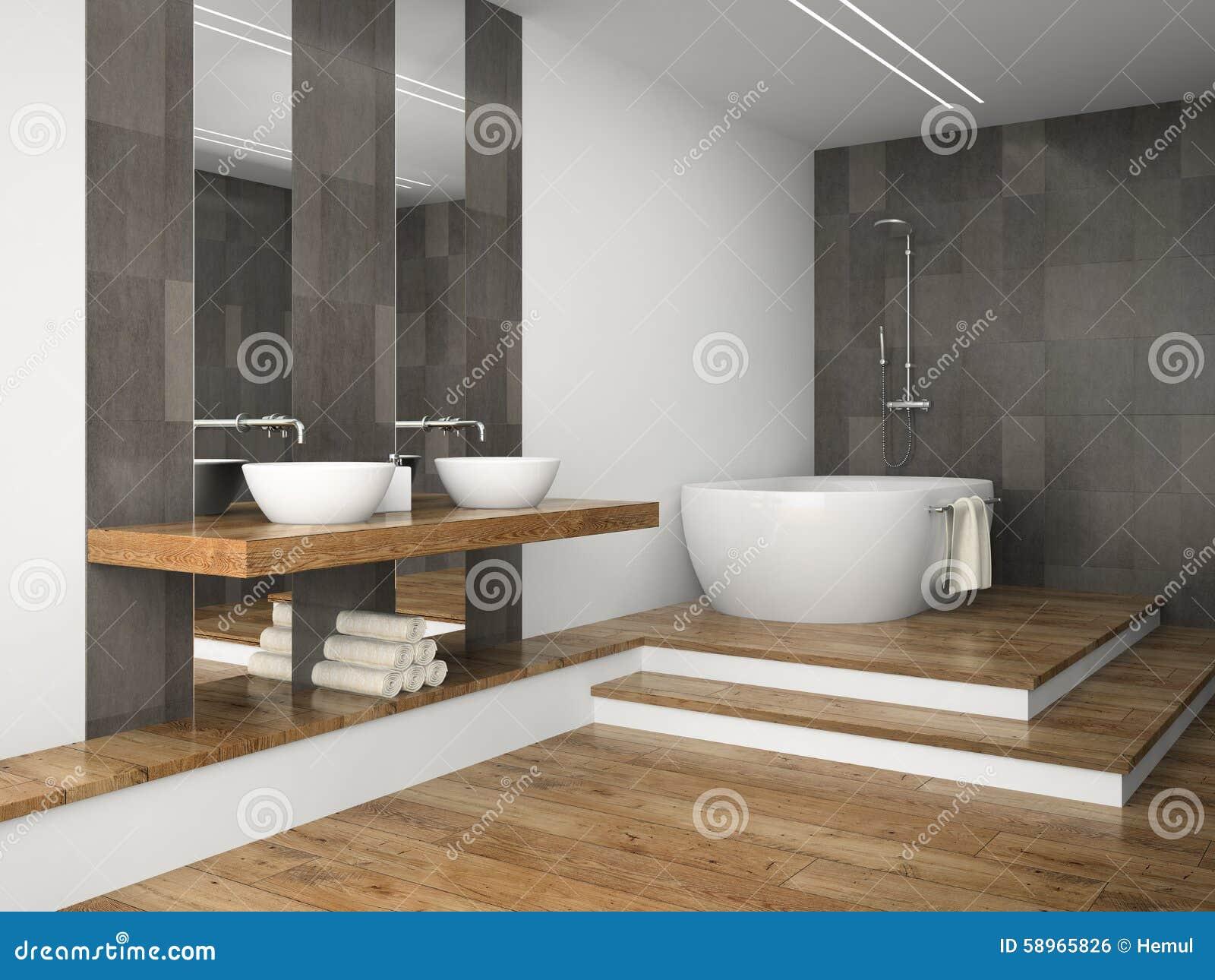 Int rieur de salle de bains avec le plancher en bois illustration stock ima - Plancher salle de bain ...