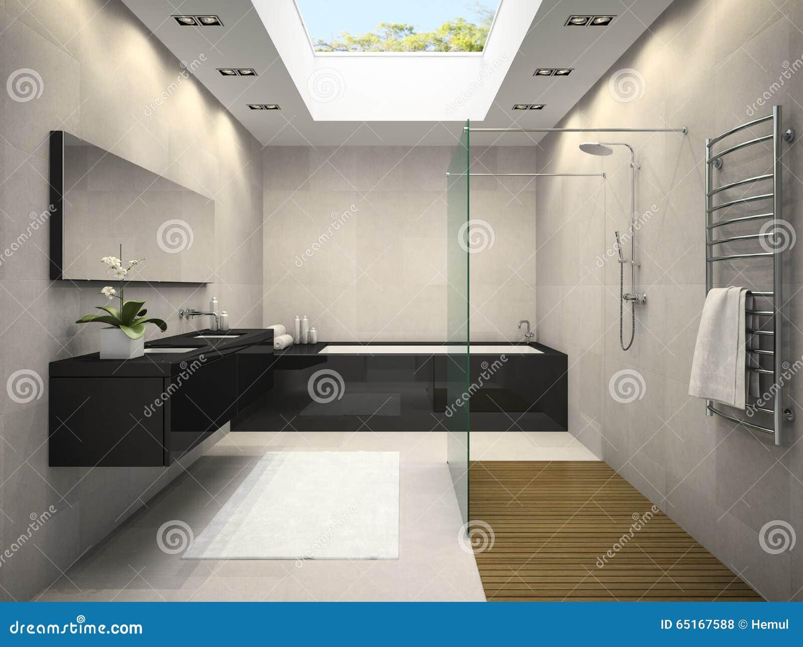 Intérieur de salle de bains avec la fenêtre 3d de plafond rendant ...
