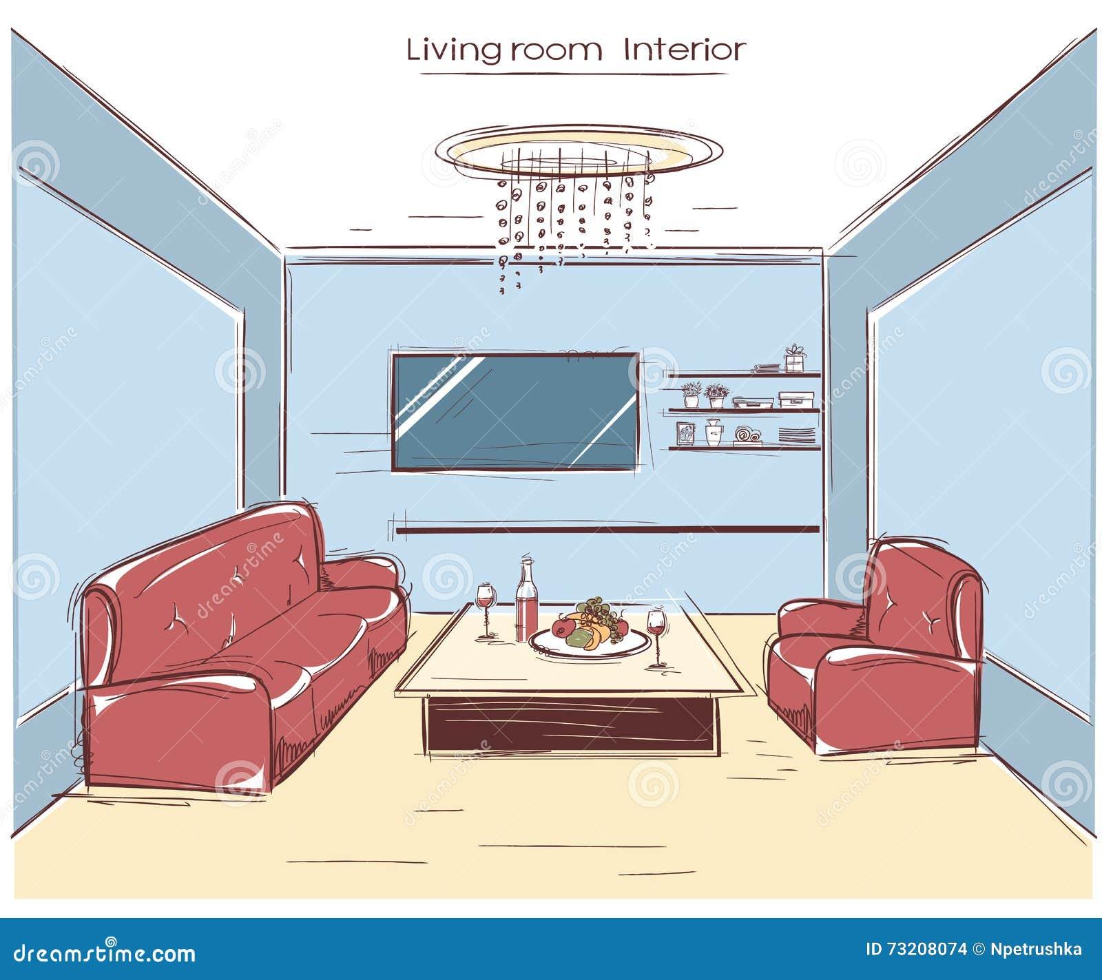 Int rieur de salle de s jour illustration de dessin de for Salle de sejour couleur