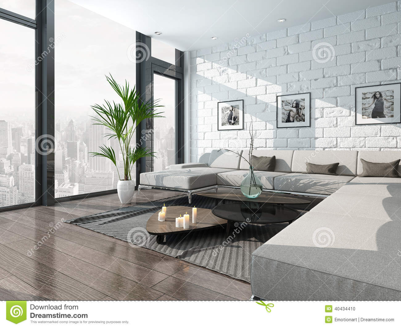 int rieur de salon avec le divan et le mur de briques illustration stock image 40434410. Black Bedroom Furniture Sets. Home Design Ideas