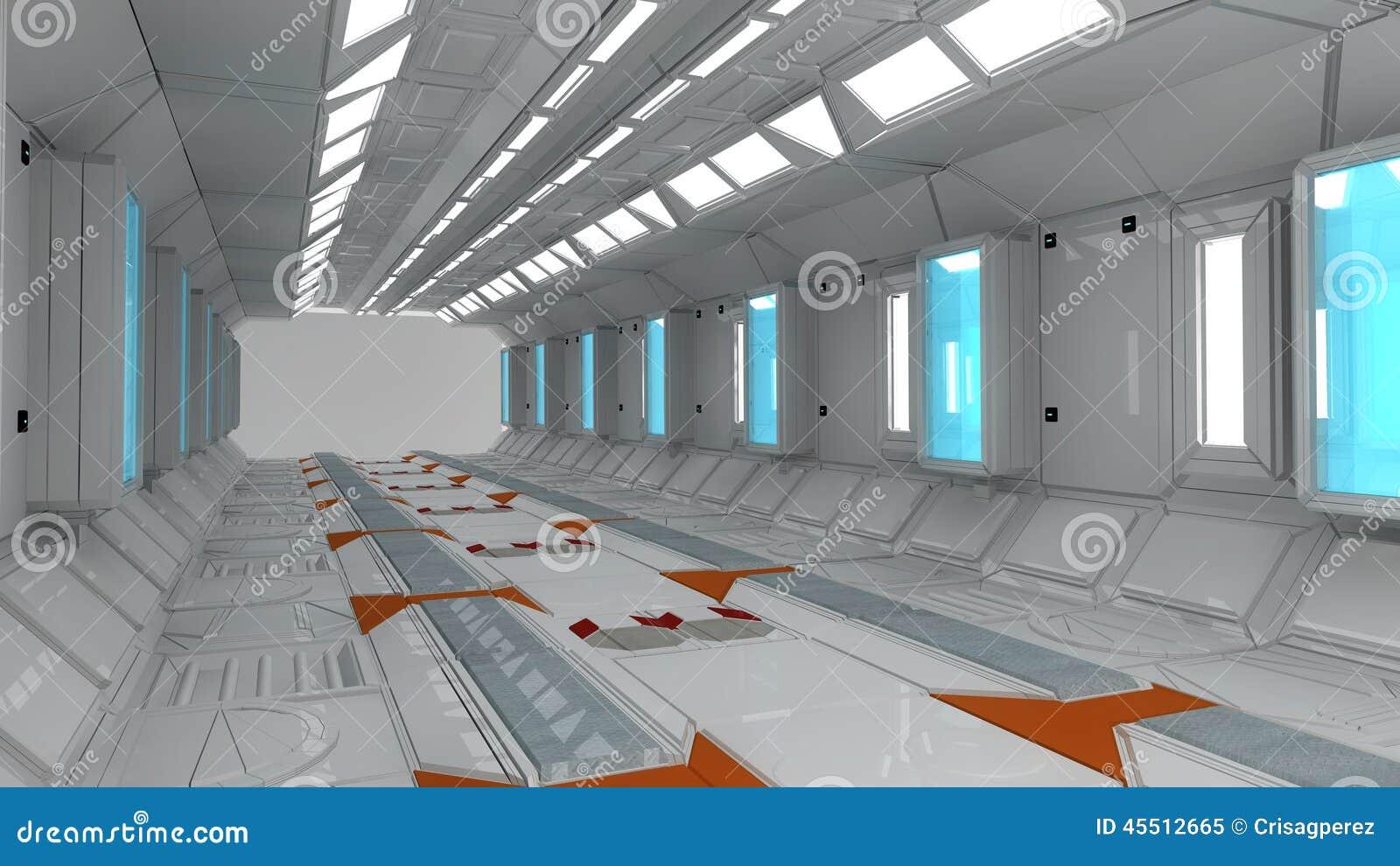 int rieur de vaisseau spatial vue centrale avec le plancher illustration stock image 45512665. Black Bedroom Furniture Sets. Home Design Ideas