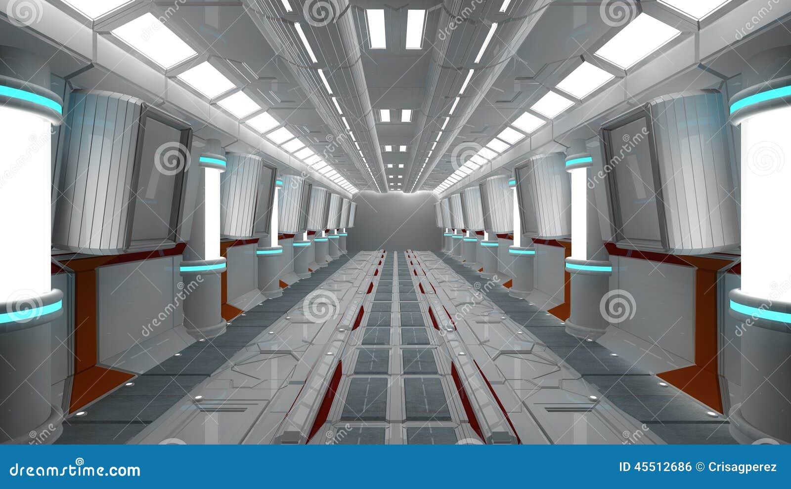 int rieur de vaisseau spatial vue centrale avec le