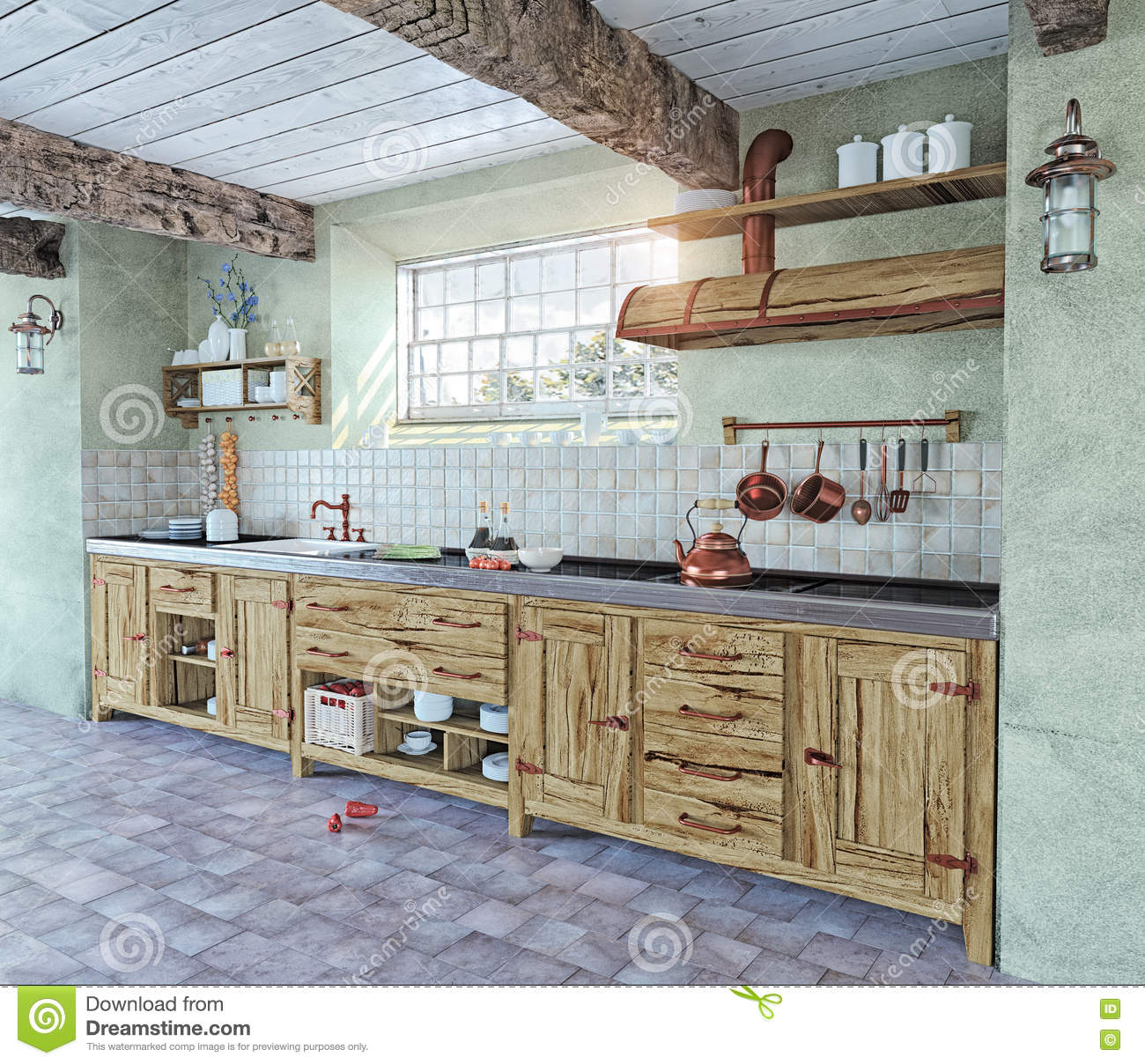 int rieur l 39 ancienne de cuisine illustration stock image 46085366. Black Bedroom Furniture Sets. Home Design Ideas