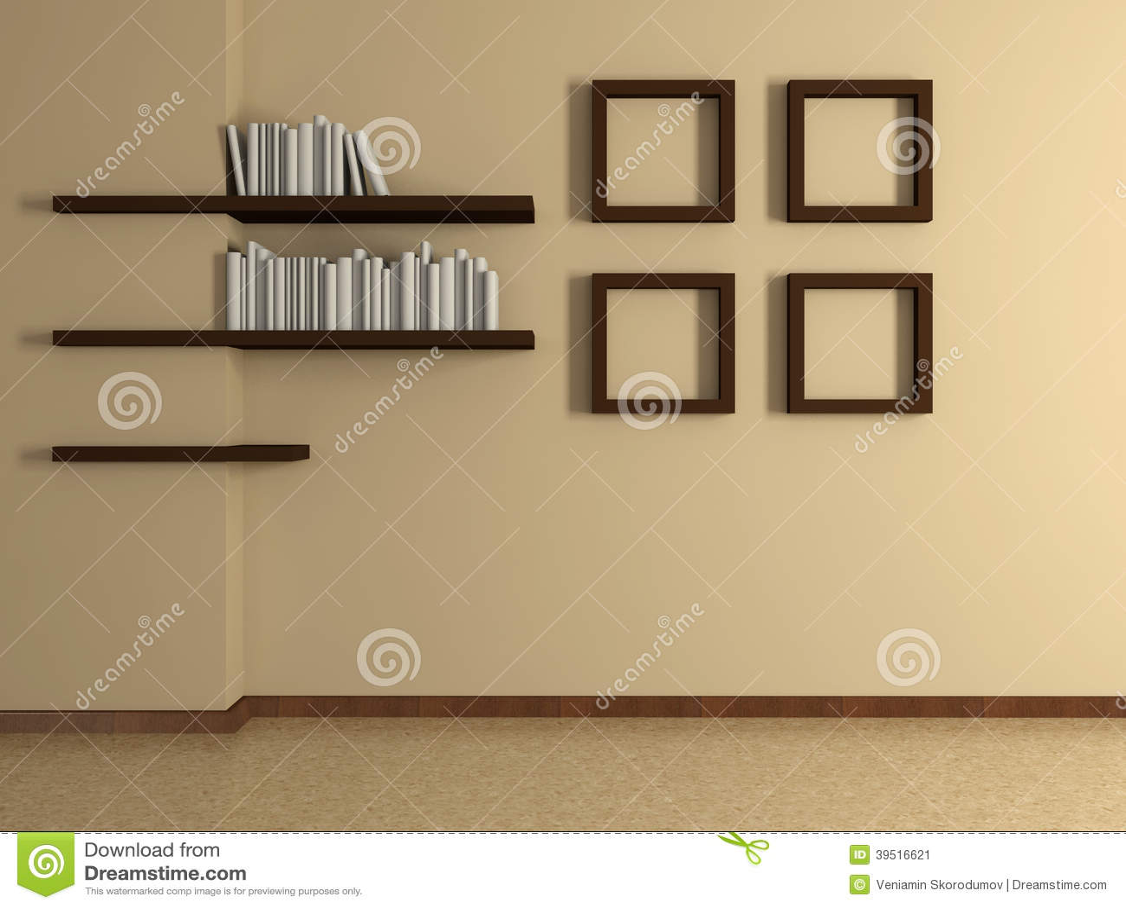 Intãrieur ã la maison moderne vec quatre peintures t ãtagã¨res
