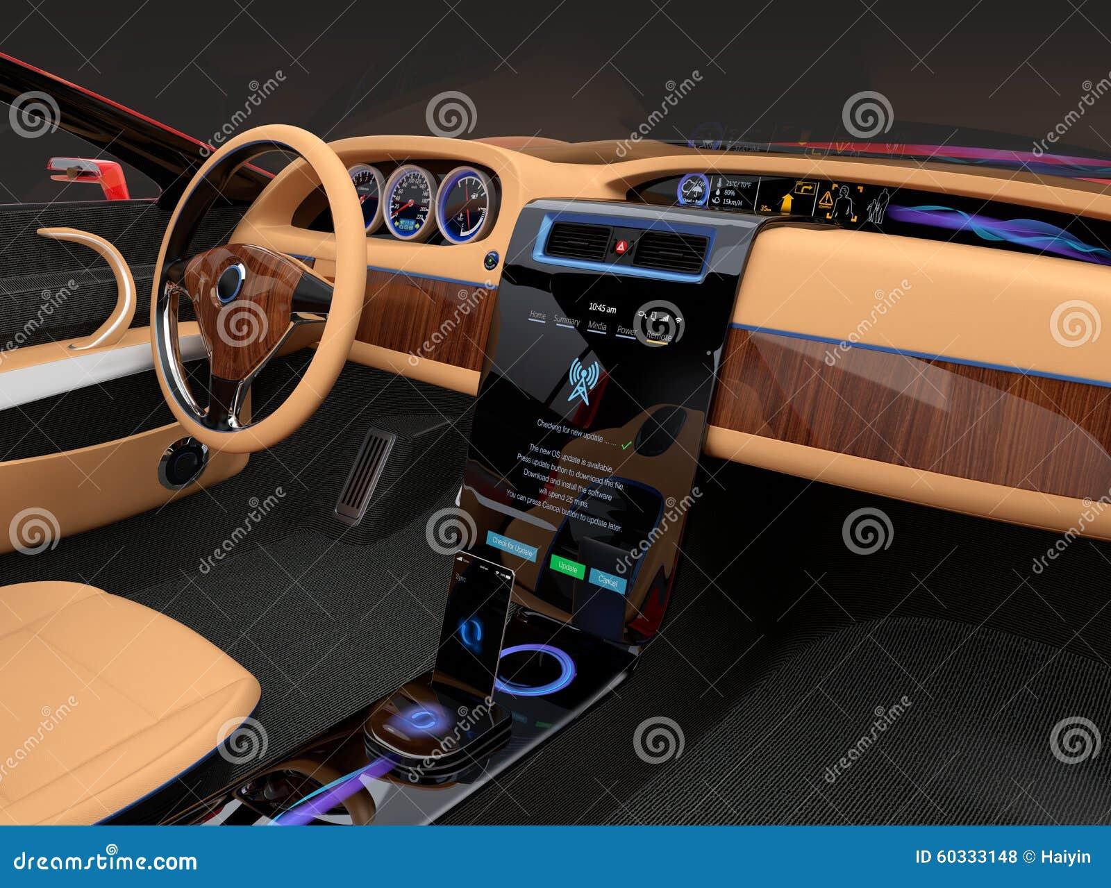 Int rieur l gant de voiture lectrique avec la d coration en bois de luxe de - Deco interieur voiture ...