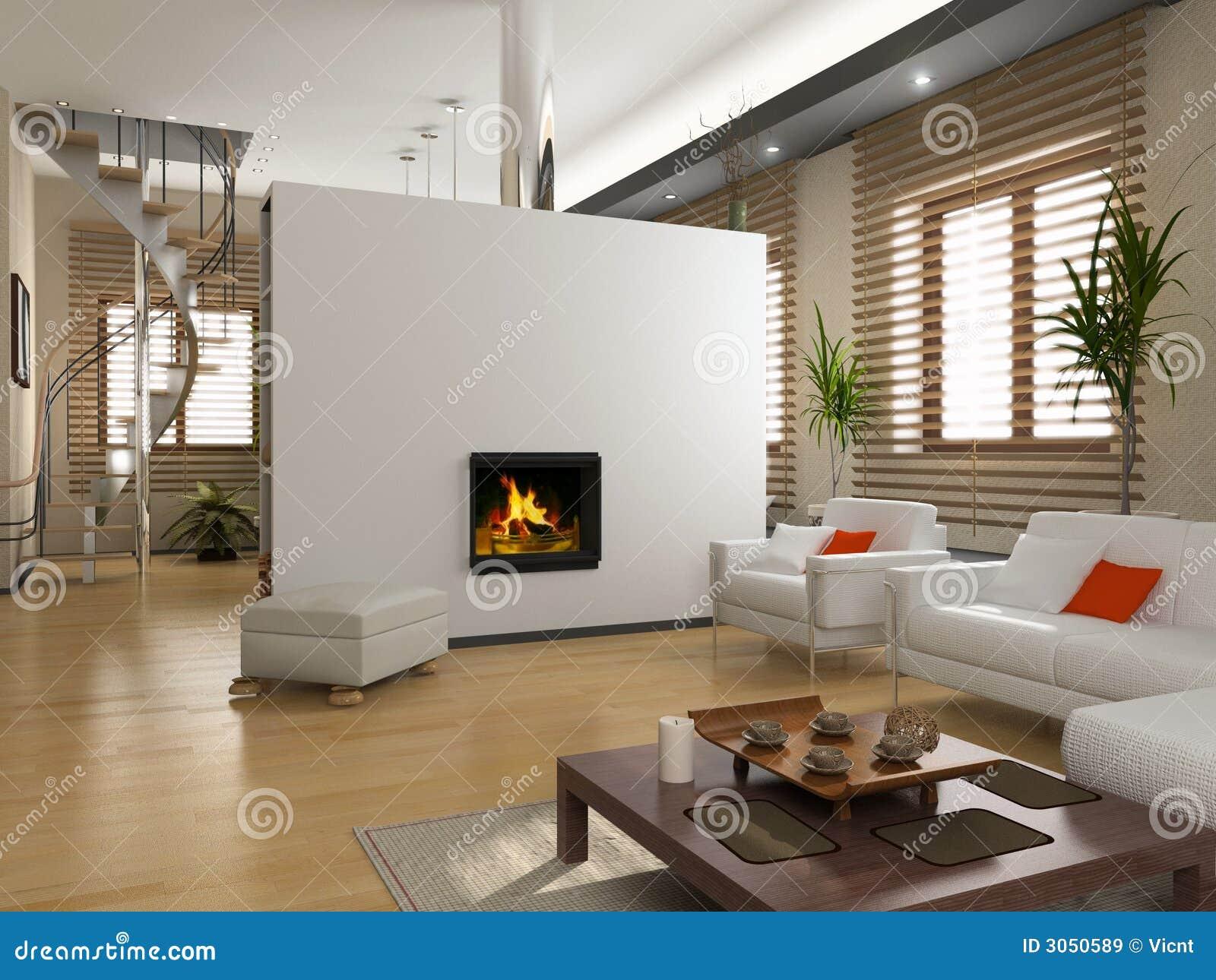 La conception intérieure moderne avec la cheminée (3D)