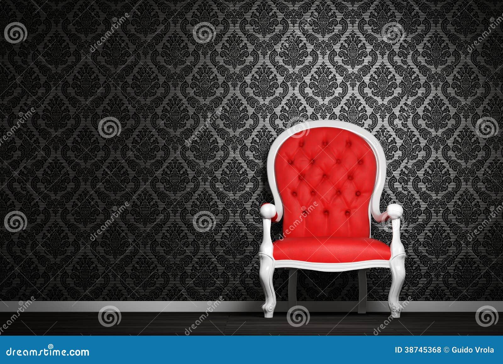 int rieur moderne avec le fauteuil rouge photos libres de. Black Bedroom Furniture Sets. Home Design Ideas