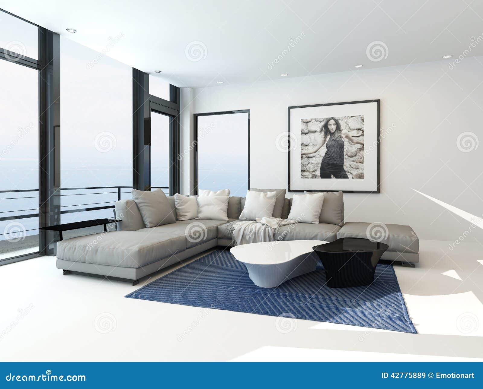 int rieur moderne d 39 appartement de bord de mer illustration stock image 42775889. Black Bedroom Furniture Sets. Home Design Ideas