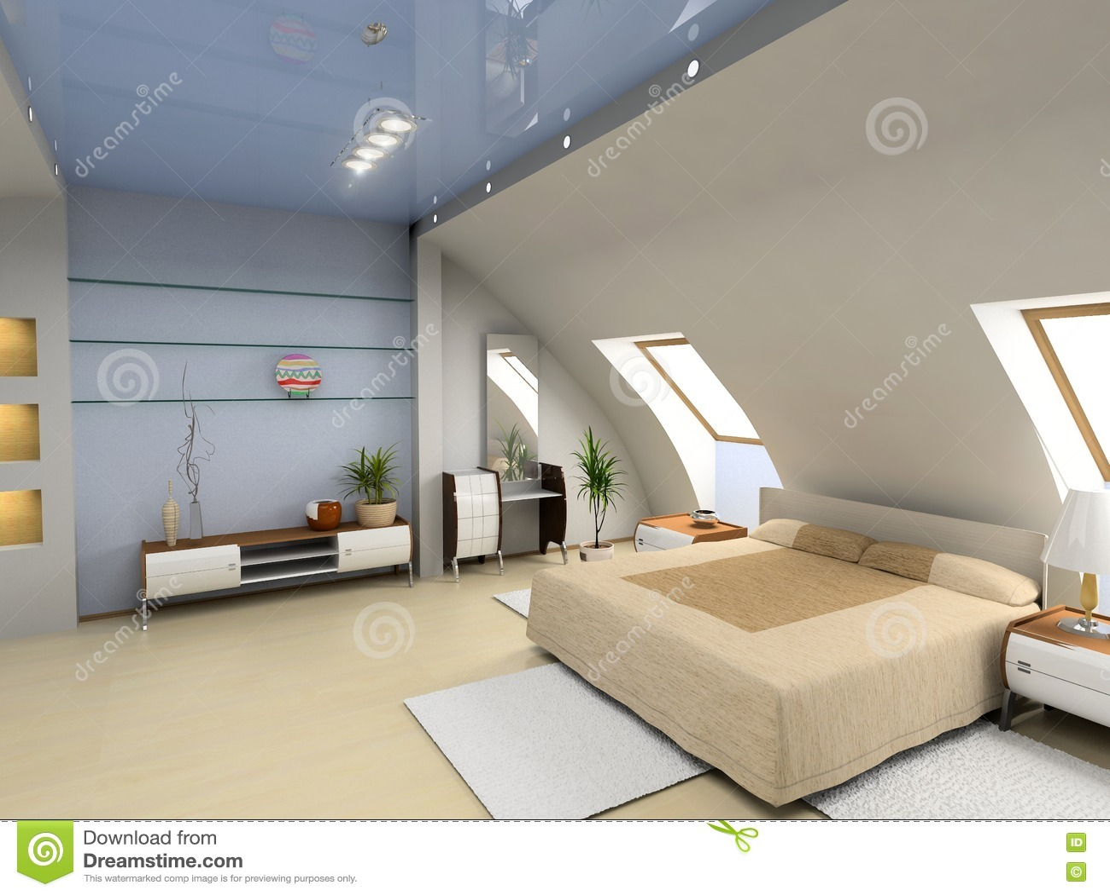 Intérieur moderne de chambre à coucher photos libres de droits ...
