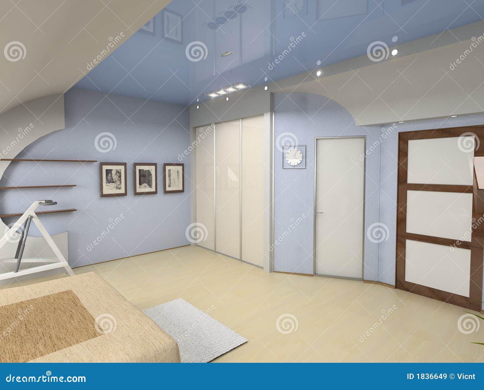 Int rieur moderne de chambre coucher images libres de for Interieur de chambre a coucher