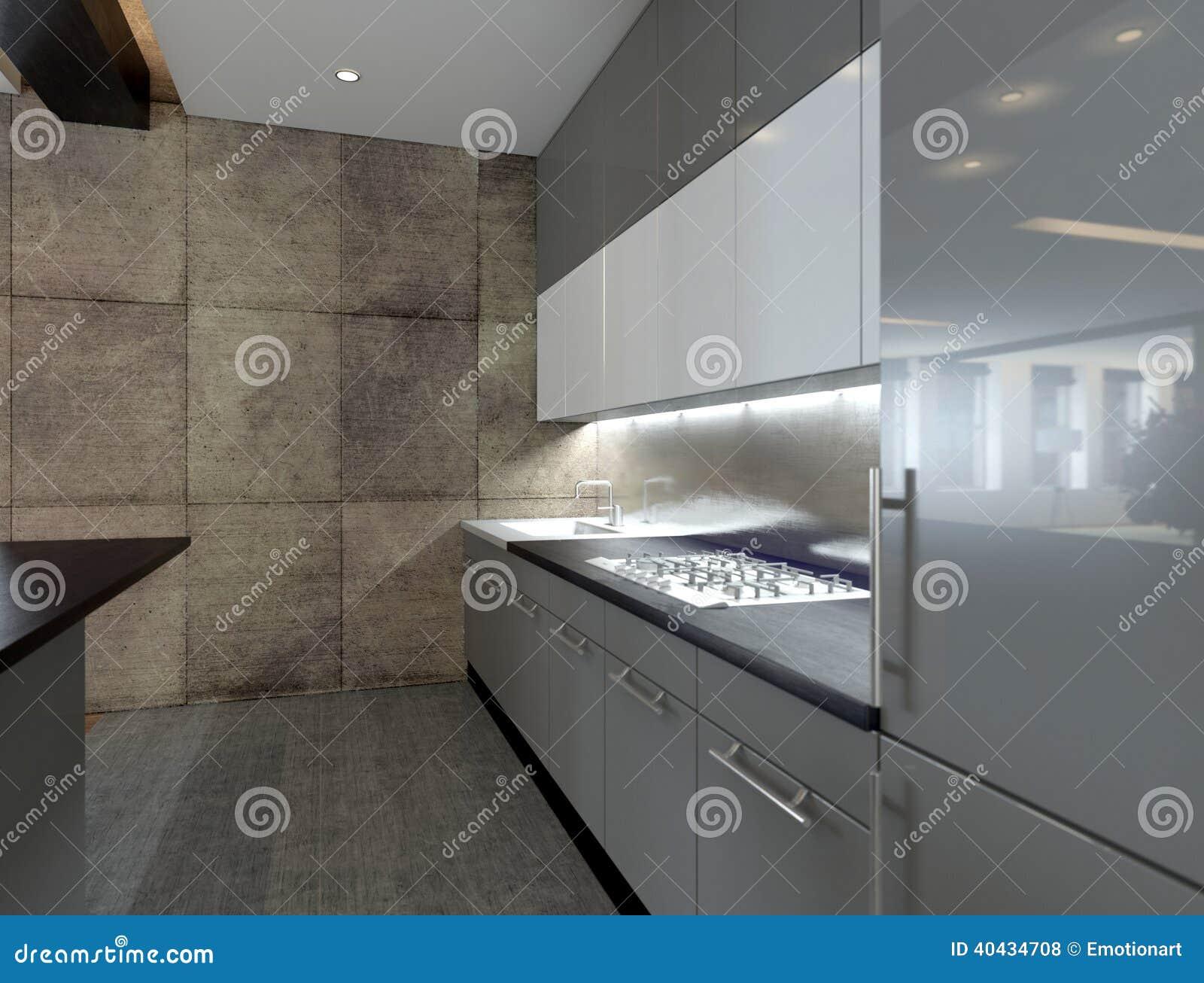 Cuisine moderne avec mur en pierre 43 tours for Decoration cuisine ouverte le mans