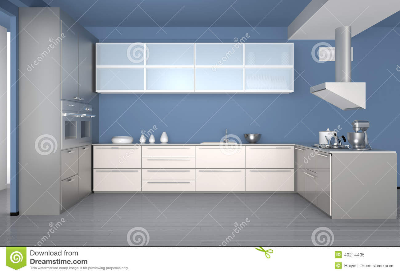 int rieur moderne de cuisine avec le papier peint bleu clair photo stock image 40214435. Black Bedroom Furniture Sets. Home Design Ideas