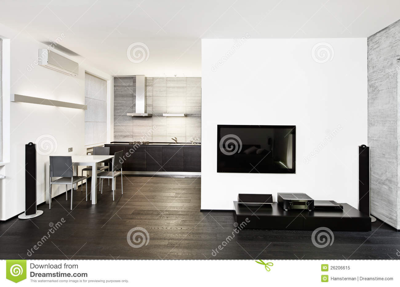 int rieur moderne de cuisine et de salon photo libre de. Black Bedroom Furniture Sets. Home Design Ideas