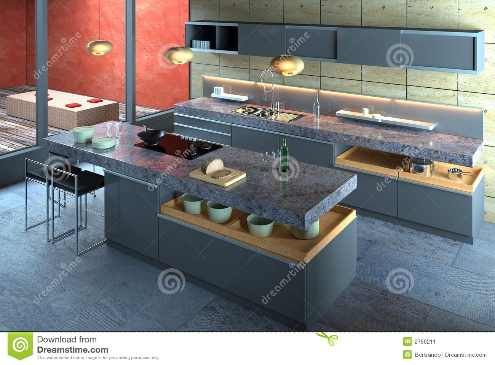 Intérieur Moderne De Luxe De Cuisine Image stock - Image: 2750211