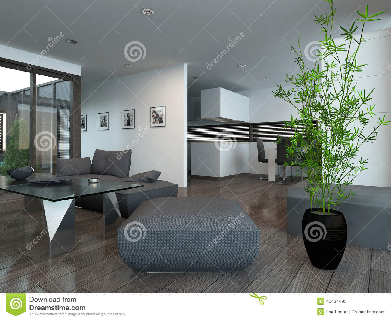 Int rieur moderne de salon avec la plante d 39 int rieur illustration stock image 40434493 for Interieur salon moderne