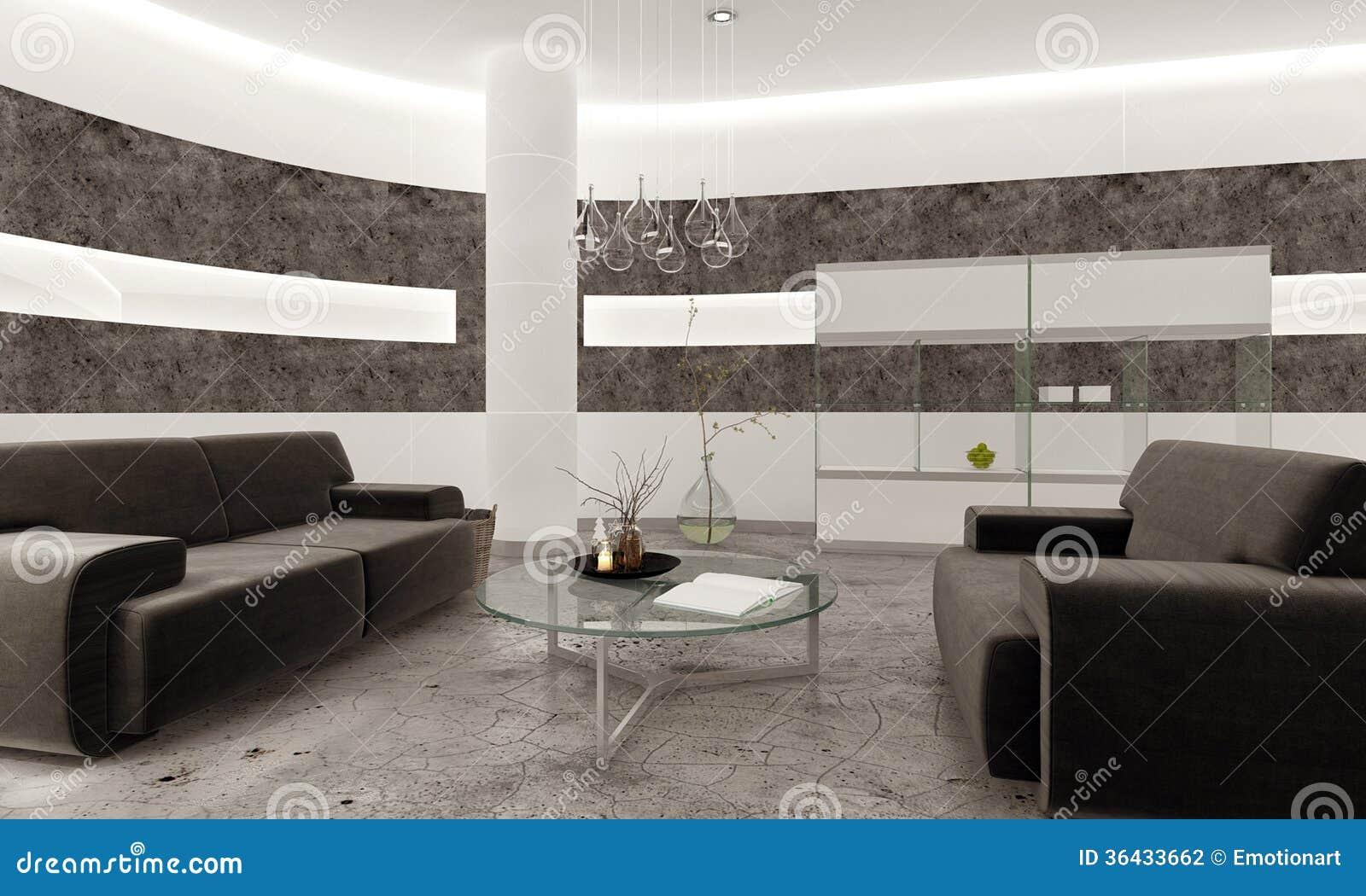 Intérieur moderne de salon avec le mur en pierre noir illustration ...
