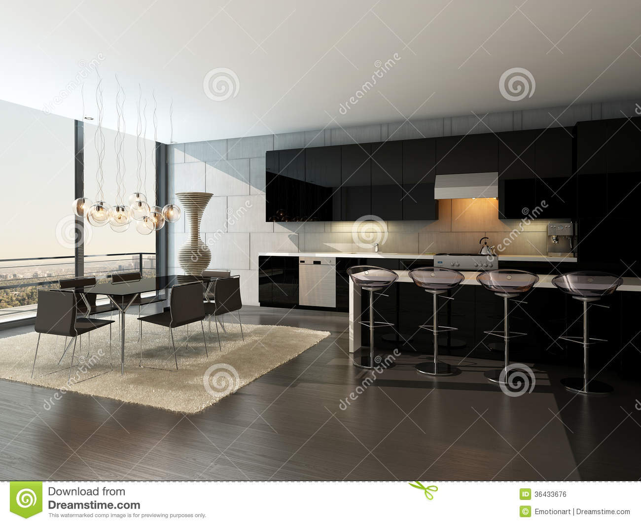 int rieur noir de cuisine avec les tabourets de bar et la table de salle manger image libre de. Black Bedroom Furniture Sets. Home Design Ideas