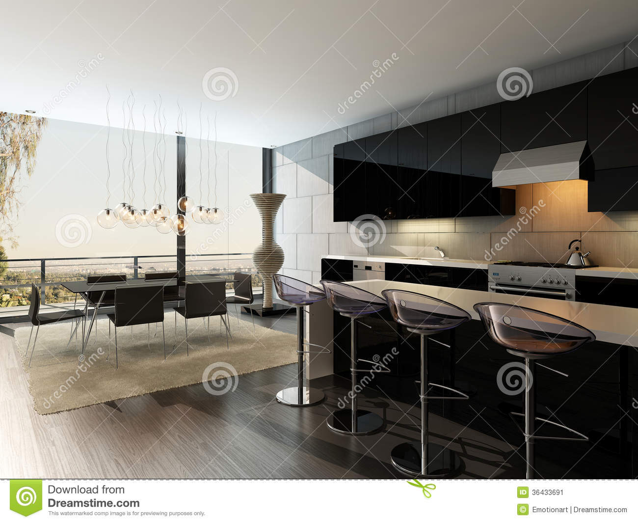 int rieur noir de cuisine avec les tabourets de bar et la. Black Bedroom Furniture Sets. Home Design Ideas