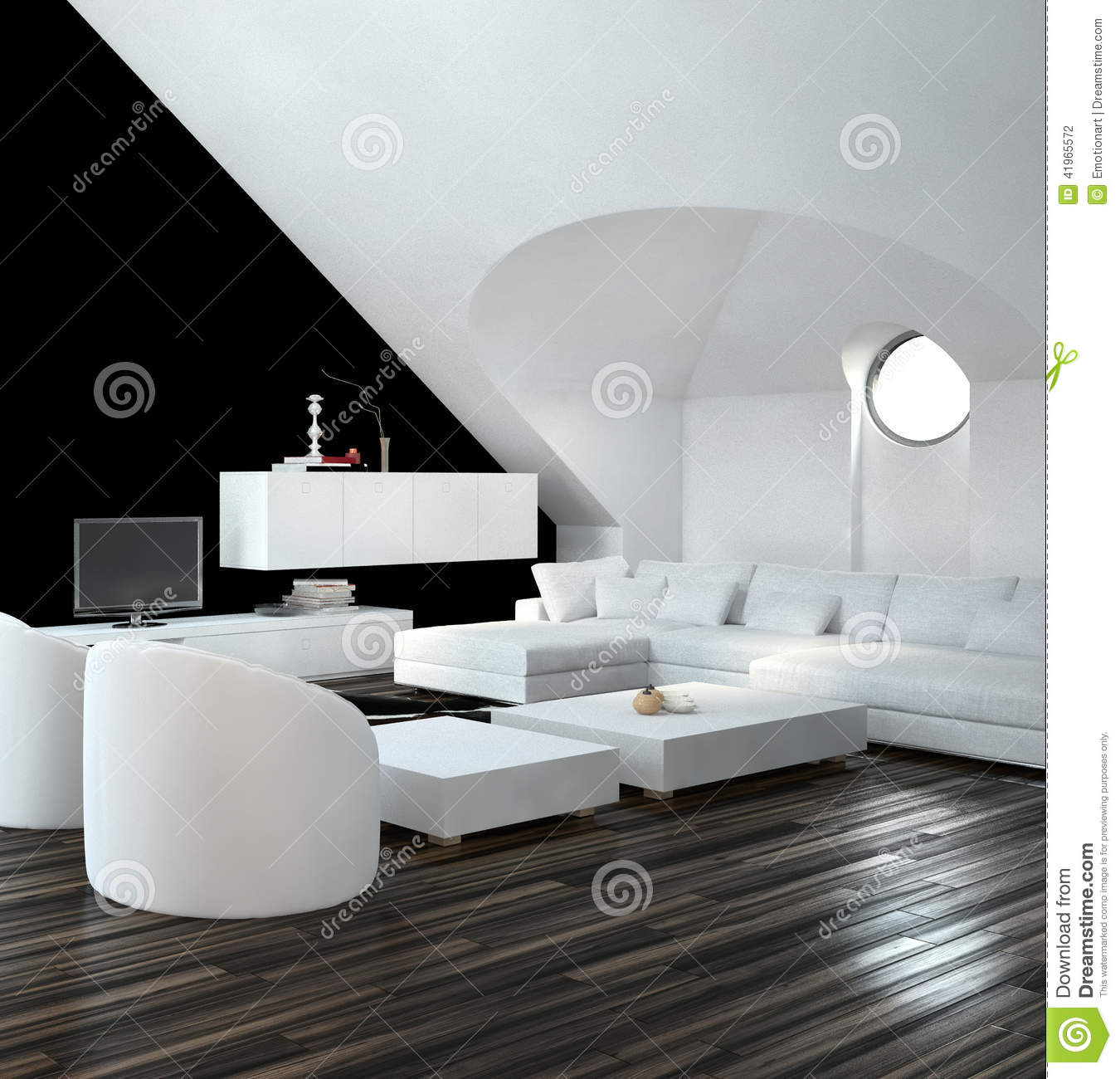 int rieur noir et blanc moderne de salon de grenier illustration stock image 41965572. Black Bedroom Furniture Sets. Home Design Ideas