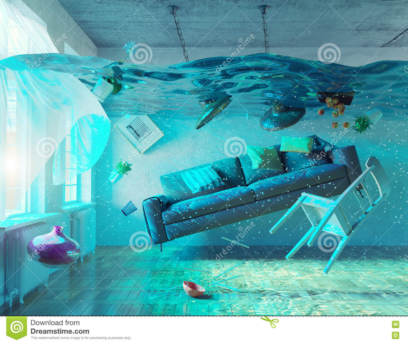 Int rieur sous marin d 39 inondation illustration stock for Interieur sous marin