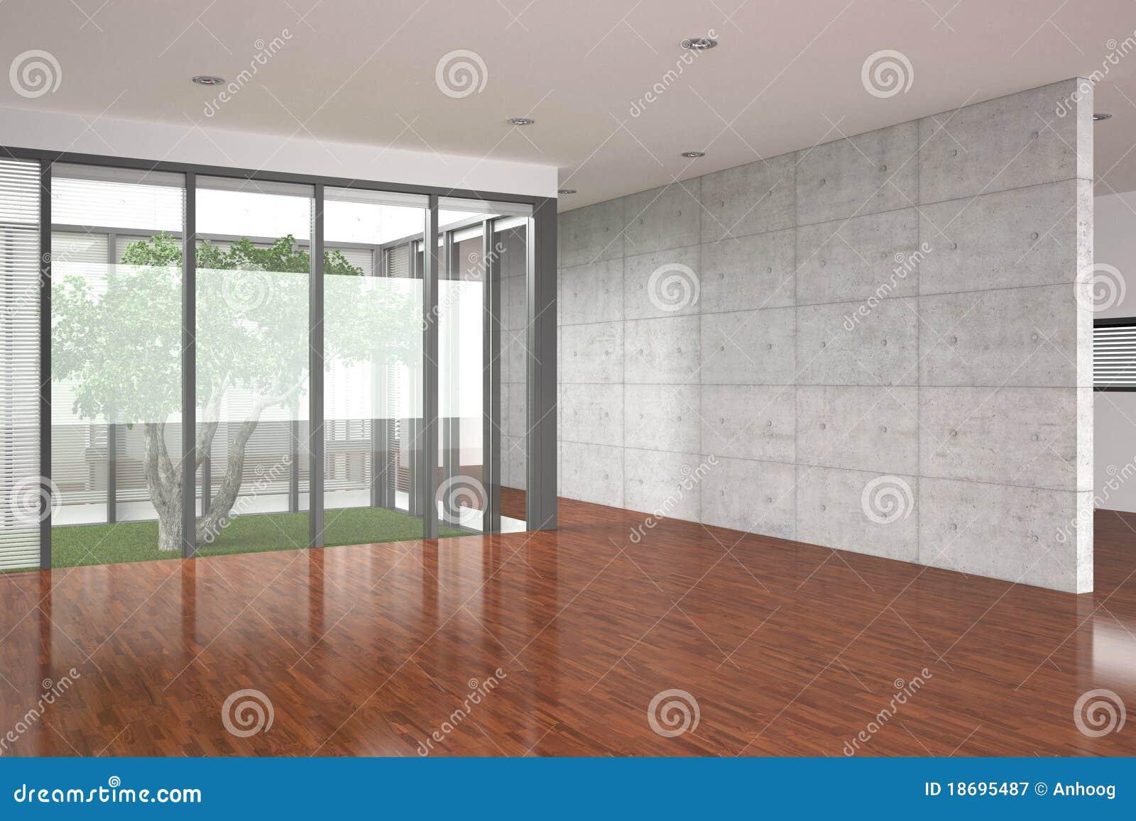 Intérieur vide moderne avec l'étage de parquet photographie stock ...