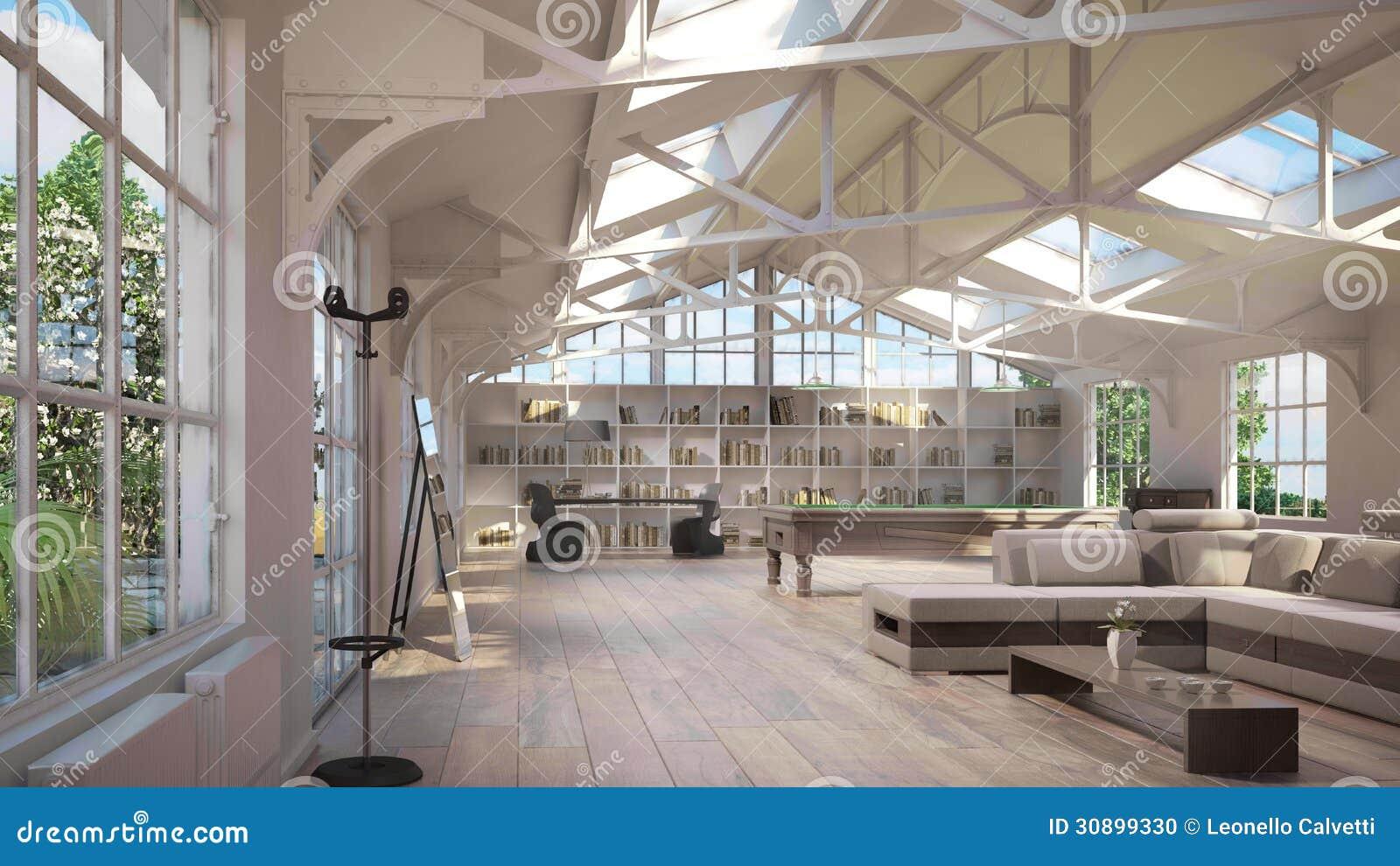 large attic bedroom ideas - Intérieurs De Luxe De Grenier stock Image