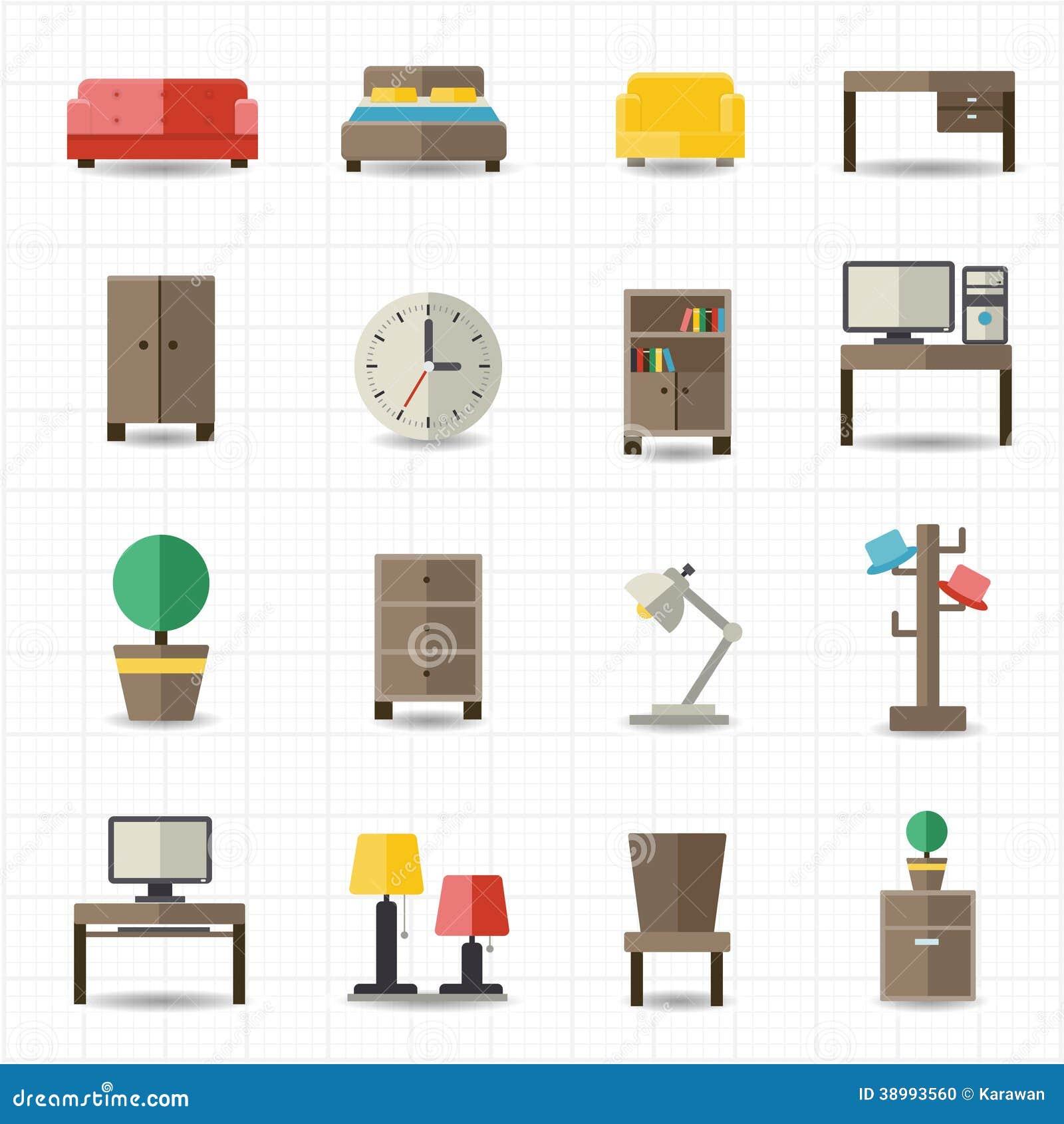 Int rieurs de meubles de maison et de bureau illustration for Ameublement de maison