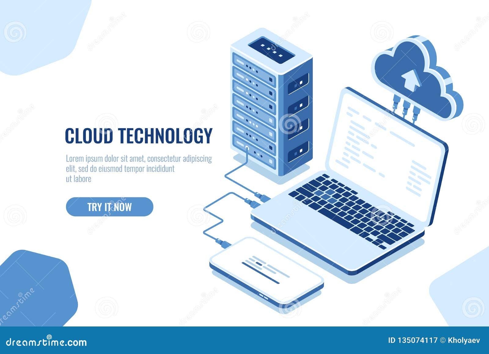 Intrigen av dataöverföringen, isometrisk säker anslutning, molnberäkning, serverrum, datacenter och databas