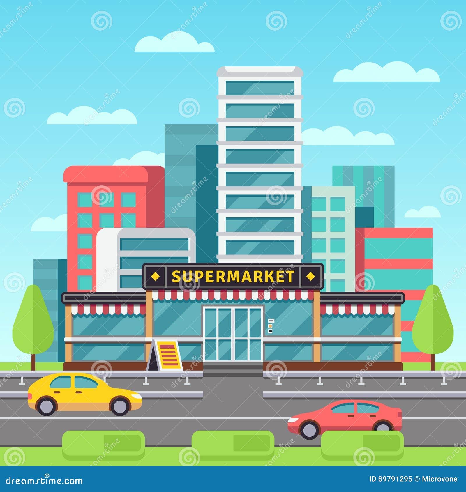 Introduza no mercado o exterior, construção do supermercado, mercearia na arquitetura da cidade moderna com ilustração do vetor d