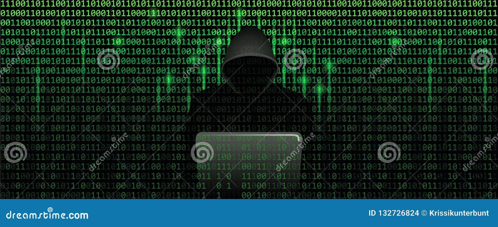 Intru dans le concept de cybercriminalité de matrice avec le fond de Web de code binaire
