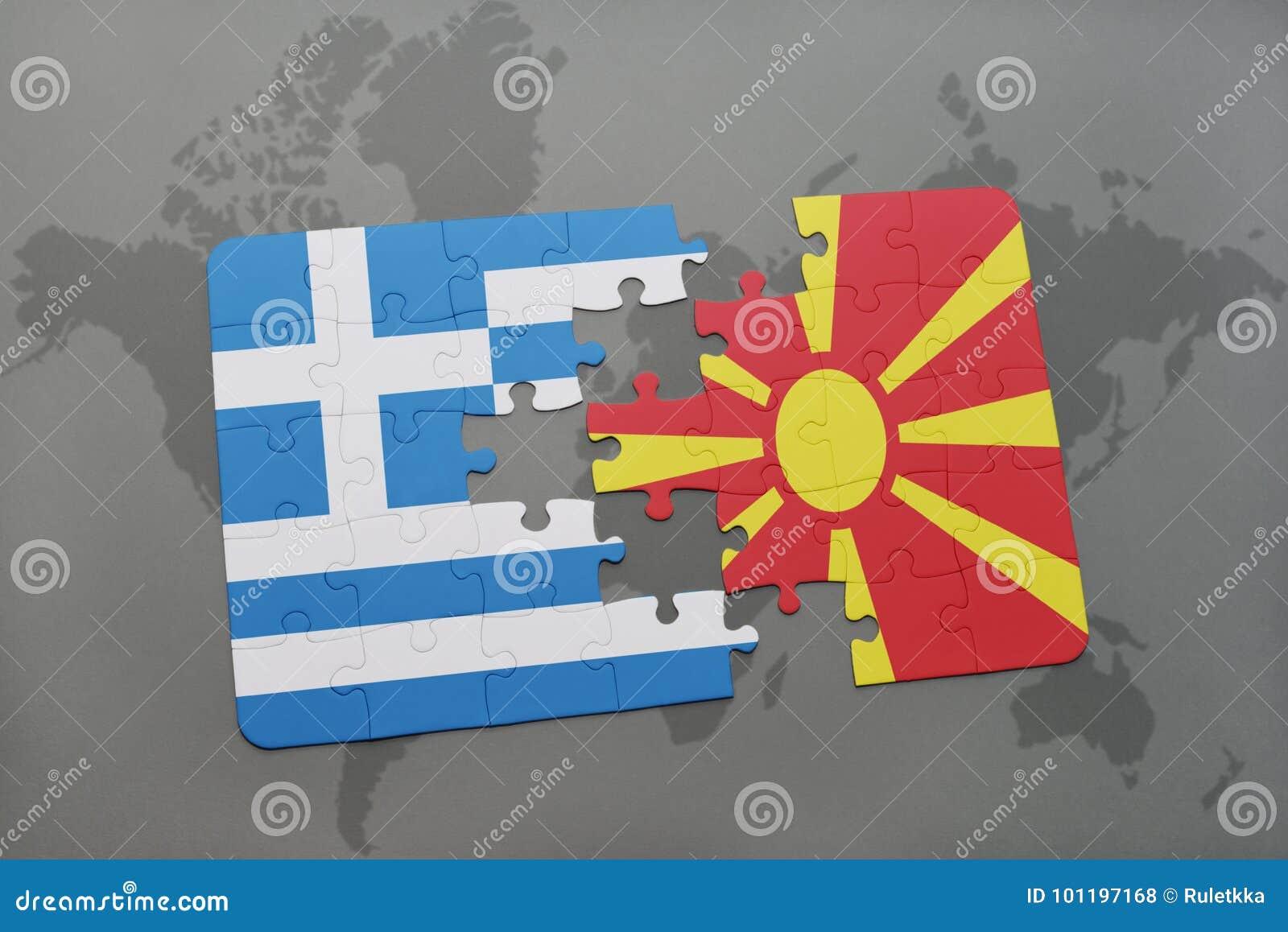 Intryguje z flaga państowowa Greece i Macedonia na światowej mapy tle
