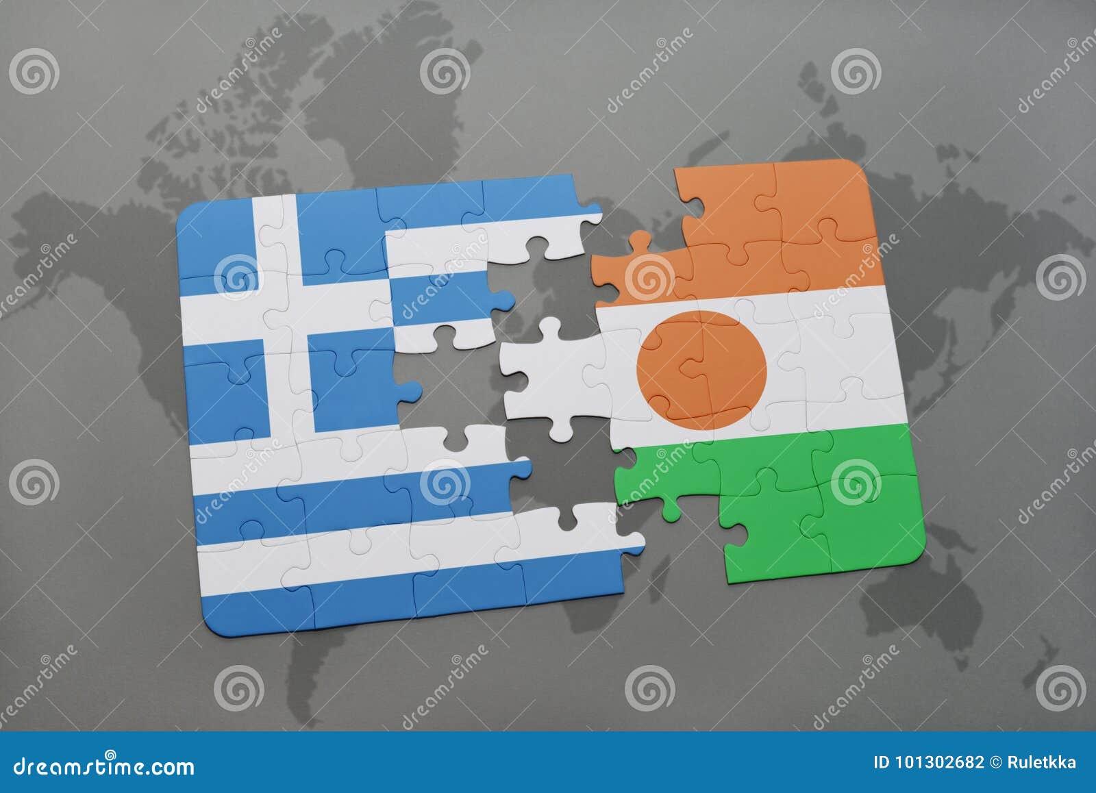 Intryguje z flaga państowowa Greece i Niger na światowej mapy tle