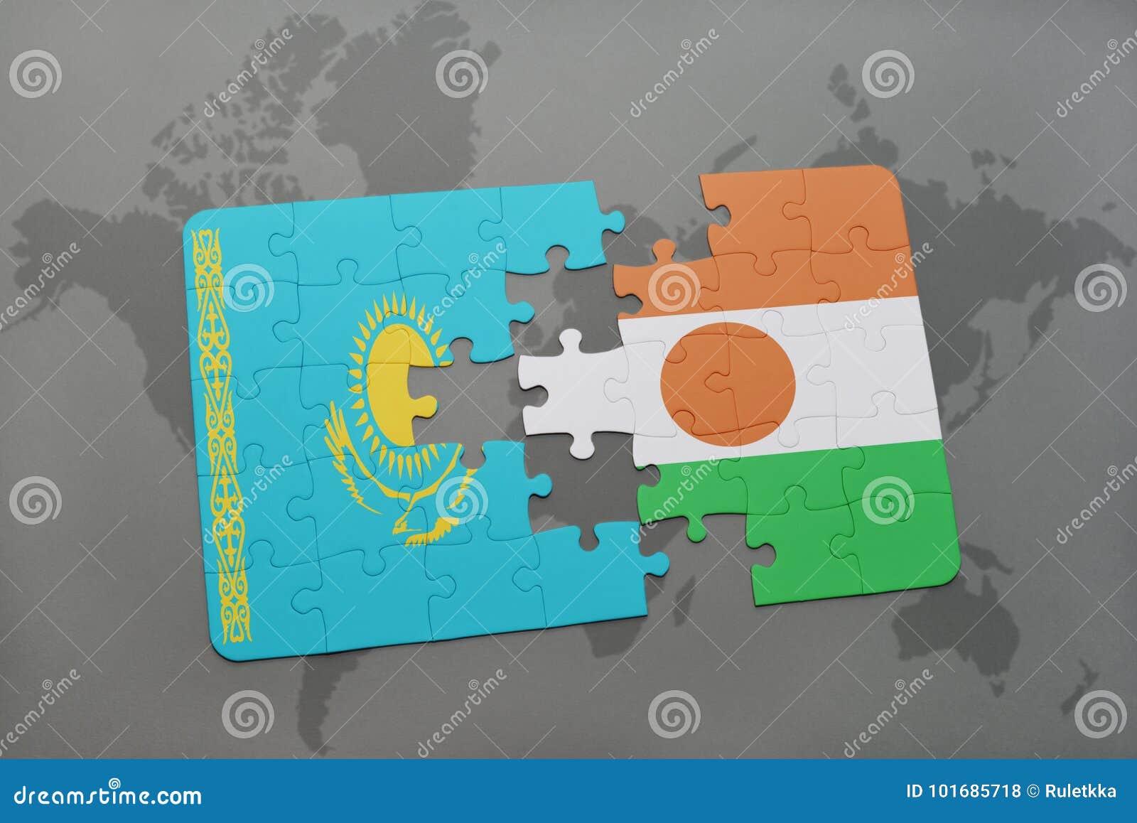 Intryguje z flaga państowowa Kazakhstan i Niger na światowej mapie