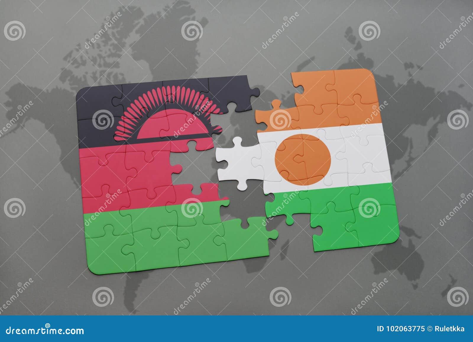 Intryguje z flaga państowowa Malawi i Niger na światowej mapie